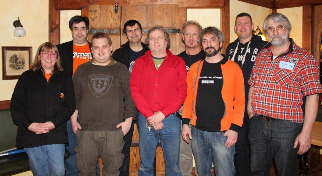 v.l.n.r.: Brigitte Haferkamp, Thomas Marc Göbel, Chris Hölzemann, Jochen Schäfer, Stefan Friedrich Vogt, Willy Mourer, Klaus Brand, Frank Behr, Ingo Höft